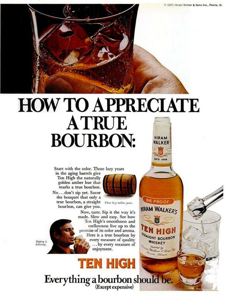 Ten High bourbon advert circa 1971