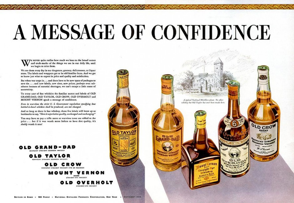 National Distillers ad circa 1942 - Americas big four distilling companies