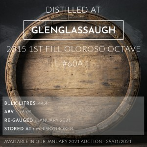 1 Glenglassaugh 2015 1st Fill Oloroso Octave #60A / Cask in storage at Whiskybroker