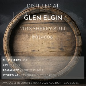1 Glen Elgin 2013 Sherry Butt #814806 / Cask in storage at Coleburn