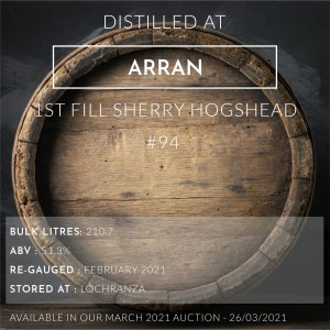 1 Arran 1996 1st Fill Sherry Hogshead #94 / Cask in storage at Lochranza