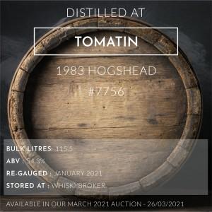 1 Tomatin 1983 Hogshead #7756 / Cask in storage at Whiskybroker