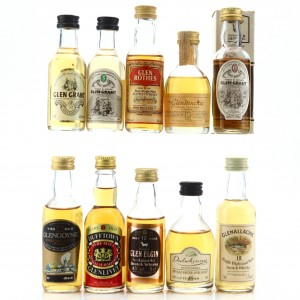 Scotch Malt Whisky Miniatures x 10 Including Glen Grant 15 Year Old Gordon MacPhail