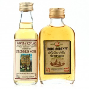 Pride of Orkney 12 Year Old 100 Proof & Flower of Scotland Miniatures x 2