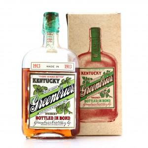 Greenbrier 1913 Bottled in Bond Whiskey Pint / Prohibition Era Bottling