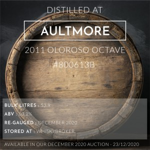 1 Aultmore 2011 Oloroso Octave #800613B / Cask in storage at Whiskybroker