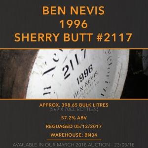 1 Ben Nevis 1996 Sherry Butt #2117 21 Year Old / Cask in storage at Ben Nevis