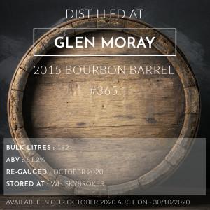 1 Glen Moray 2015 Bourbon Barrel #365 / Cask in storage at Whiskybroker