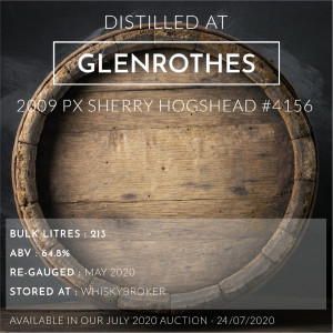 1 Glenrothes 2009 PX Sherry Hogshead #4156 / Cask in storage at Whiskybroker