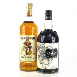 Captain Morgan Spiced & Kraken Spiced Rum 2 x 1 Litre
