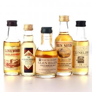 Scotch Malt Whisky Miniatures x 5 / includes Clynelish 14 Year Old Flora & Fauna