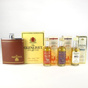 Miscellaneous Single Malt Miniature Selection 3 x 5cl / with Glenlivet Flask