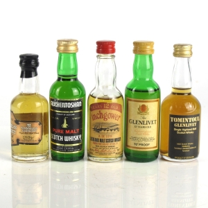 Miscellaneous Single Malt Selection 1970s/80s 5 x Miniatures