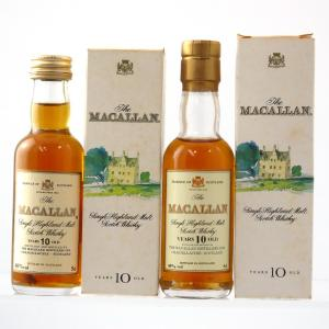 Macallan 10 Year Old Miniatures 2 x 5cl 1990s