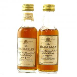 Macallan 8 Year Old Miniatures 1980s x 2