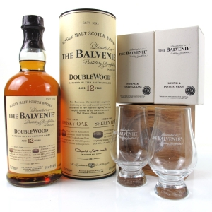 Balvenie 12 Year Old Double Wood / Including Plinth, Badge and 2 x Tasting Glass