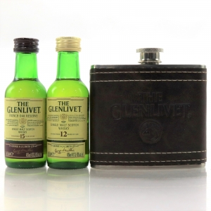 Glenlivet 12 & 15 Year Old Miniature 2 x 5cl / with Miniature Hip Flask