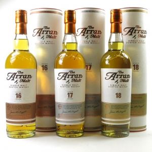 Arran 16 Year Old, 17 Year Old and 18 Year Old 3 x 70cl