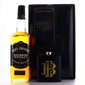 Ezra Brooks 80 Proof Kentucky Straight Bourbon / With Hip Flask