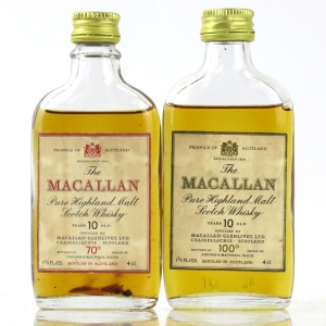 Macallan 10 Year Old 70 & 100 Proof Miniature 2 x 4cl