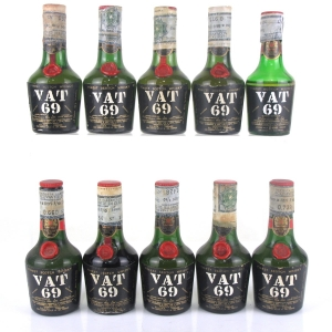 VAT 69 Miniatures 10 x 4.68cl 1970s / SILVER Import