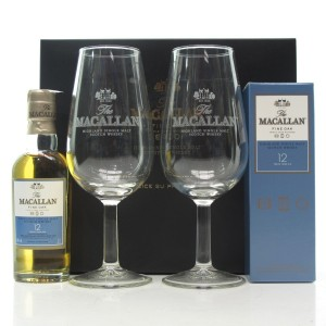 Macallan 12 Year Old Fine Oak Miniature Pack / with Tasting Glasses x 2