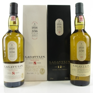 Lagavulin 8 Year Old & 12 Year Old Cask Strength 2 x 70cl / Bicentenery Editions