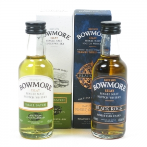 Bowmore Black Rock and Small Batch Miniatures 2 x 5cl Front