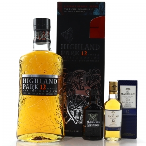 Highland Park 12 Year Old Viking Honour / with Magnus and Macallan Double Cask Miniatures