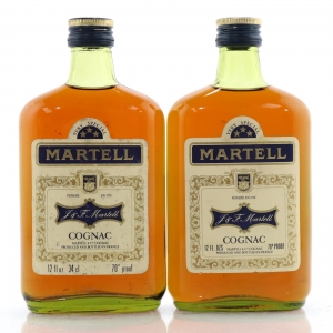 Martell Three Star Cognac 1970s Half-Bottle x 2