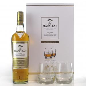 Macallan Gold Gift Pack / includes Two Glasses