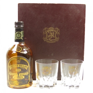 Chivas Regal 12 Year Old Staff Bottle 1997 Gift Pack / Including Tumblers Front