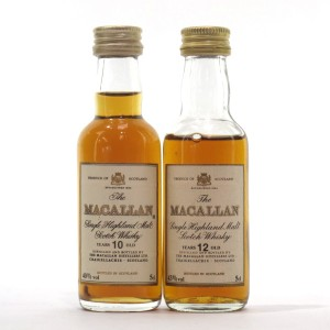 Macallan 10 & 12 Year Old Miniature 2 x 5cl 1980s