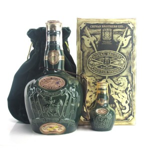 Chivas 21 Year Old Royal Salute / Emerald Flagon with Miniature 5cl