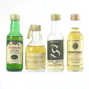 Campbeltown & Lowland Miniature Selection x 4 / Including Rosebank 8 Year Old
