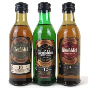 Glenfiddich Miniature Selection 3 x 5cl / Including 18 Year Old Ancient Reserve