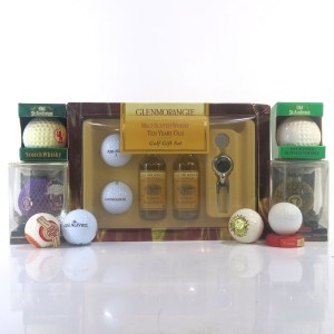 Miscellaneous Scotch Golf Miniatures x 9 / including Glenmorangie 10 Year Old