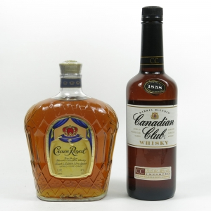 Crown Royal Canadian Whisky 1 Litre and Canadian Club
