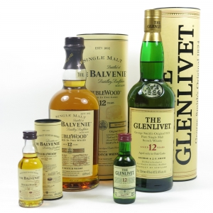 Glenlivet 12 Year Old and Balvenie 12 Year Old Double Wood (Including Miniatures) 2 x 70cl and 2 x 5cl
