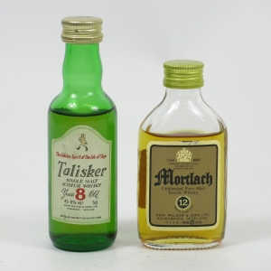 Talisker and Mortlach Rare Miniatures 1980s Front