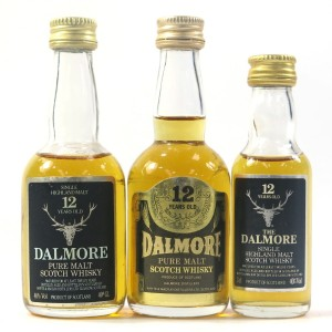 Dalmore 12 Year Old Miniatures x 3 1980s