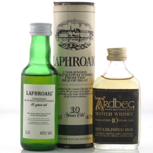 Ardbeg Guaranteed 10 Year Old & Laphroaig 10 Year Old Miniature 2 x 5cl
