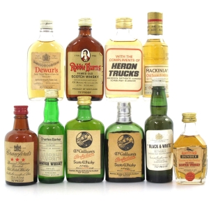 Blended Scotch 1970s Miniature Selection x 10 / Including Black and White