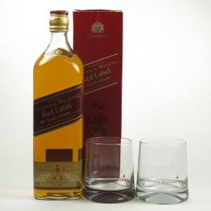 Johnnie Walker Red Label 1 litre Including Two Glasses