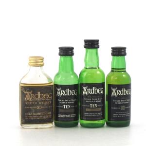 Ardbeg Miniature Selection x 4 / Including Ardbeg Guaranteed 10 Year Old 1970s