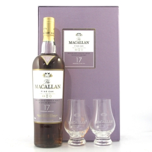Macallan 17 Year Old Fine Oak Gift Pack / Including 2 x Glasses