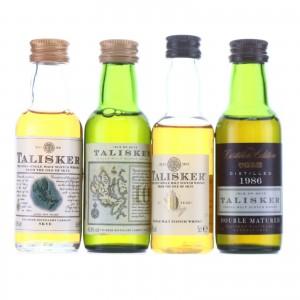 Talisker Miniatures x 4 / Includes 1986 Distiller's Edition
