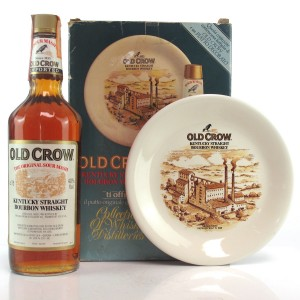 Old Crow Kentucky Straight Bourbon 1980s / with Commemorative Plate