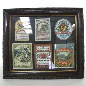 Framed Pre-1900s Vintage Whisky Labels / includes Bladnoch