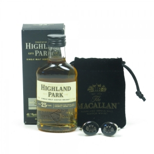 Highland Park 25 Year Old 5cl Miniature and Macallan Cuff Links